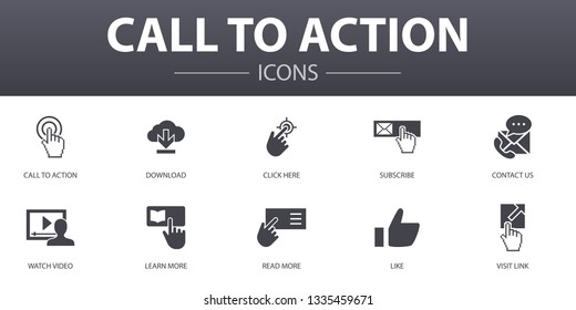 Call To Action simple concept icons set. Contains such icons as download, click here, subscribe, contact us and more, can be used for web, logo, UI/UX