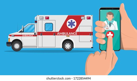 Call ambulance car via mobile phone. Emergency clinic vehicle. Smartphone with doctor and medical van. Healthcare, hospital and medical diagnostics. Urgency services. Flat vector illustration