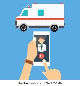 call ambulance car via mobile phone medical paramedic emergency vector illustration