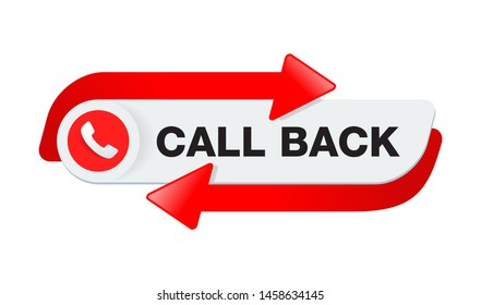 Call back button  - web site header template for callback service r  - conspicuous element with phone headset pictogram and both ways arrow