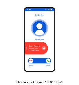 Call blocker smartphone interface vector template. Mobile app page white design layout. Unwanted incoming calls rejecting screen. Flat UI for application. Add to blacklist, spam. Phone display