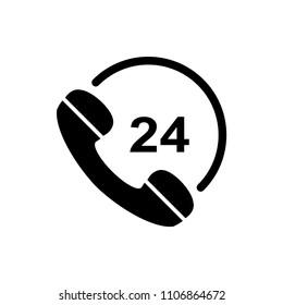 call center 24 hour vector icon logo template