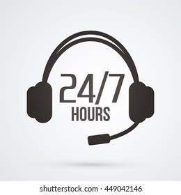 Call center, 24 hours a day and 7 days service sign graphic vector.