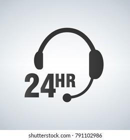Call center, 24 hours a day service sign graphic vector.