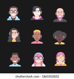 Call Center Agenten flach Avatare. Live Chat-Operatoren, Jungs und Mädchen lächeln Gesicht. Online-Kundendienst-Assistenten mit Kopfhörern. Help Desk Caucasian, African, Asian Consultants