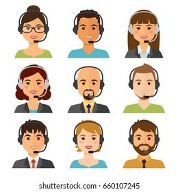 Agentes de centros de llamadas avatares planos con auriculares. Auxiliar del servicio de asistencia en línea.Ilustración vectorial.