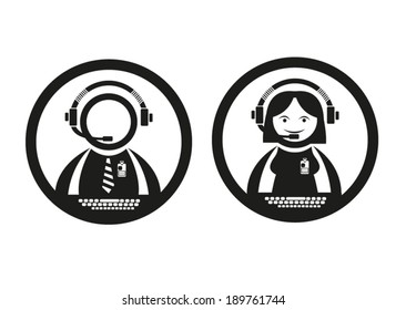 Call Center Agents. Male and Female Vector. Editable Clip Art.