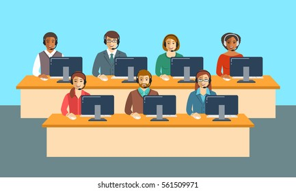 Call center agents team at office. Flat vector banner. Customer care operators, guys and girls with smiling faces sitting at desks with computers. Online support service assistants with headphones.
