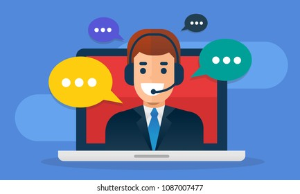Call center avatar wearing headset  on screen laptop with buble message. Flat vector illustration