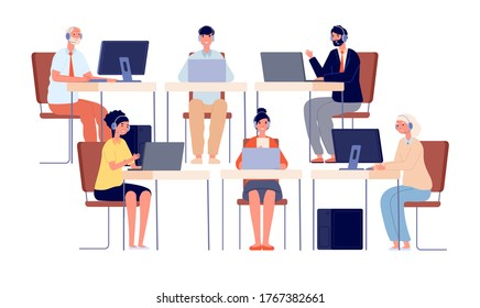 Call center characters. Contact service, smiling telephone agent with headset. Company office operator, customer hotline vector illustration