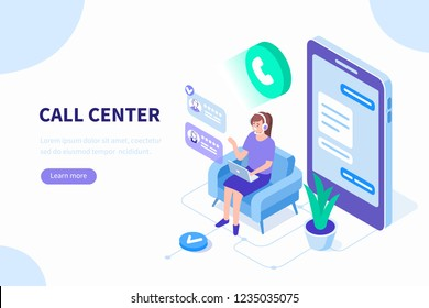 Call center concept. Can use for web banner, infographics, hero images. Flat isometric vector illustration isolated on white background.
