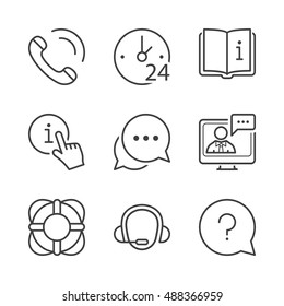 call center, contact and support icons set, thin line, black color