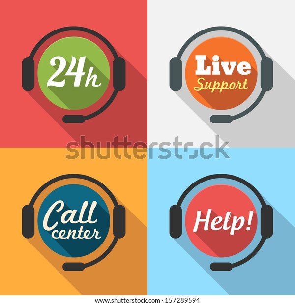 Call Center / Customer Service / 24 hours Support Flat Icon set for App / Web / UI / Button / Interface design