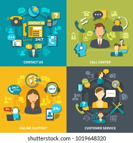 Call center design concept with customer service, online support 24/7, contact us isolated vector illustration
