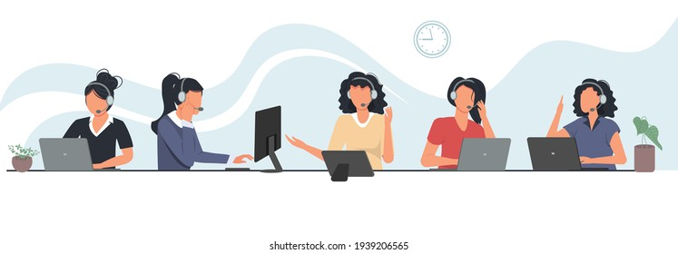 Call center employees working on computers. Call center, hotline vector illustrations. Office workers with headsets cartoon characters. Customer support department staff, telemarketing agents.