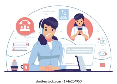 call center flat design illustration stock vector