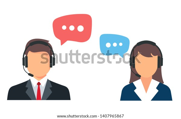 Call center. Help, Support and Contact. Customer Service Icon. Male and female call center working in headphones. Customer service character.  churn prediction