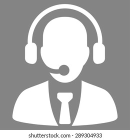 Call center icon from Business Bicolor Set. Vector style: flat symbol, white color, rounded angles, gray background.