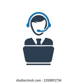 Call Center Icon. Customer service rep icon