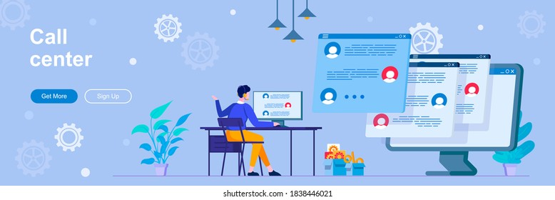Call center landing page with people characters. Online hotline and helpdesk web banner. Customer assistance service vector illustration. Flat concept great for social media promotional materials.