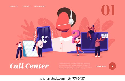 Call Center Landing Page Template. Customer Service Staff in Headset Work on Computer. Operator and Client Communication, Specialist Solve Clients Problems Online. Cartoon People Vector Illustration