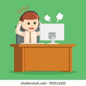 call center man panic while work