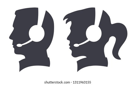 call center man woman headset silhouette icon