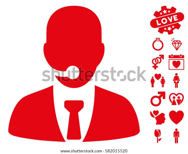 Call Center Manager icon with bonus marriage pictograms. Vector illustration style is flat iconic red symbols on white background.