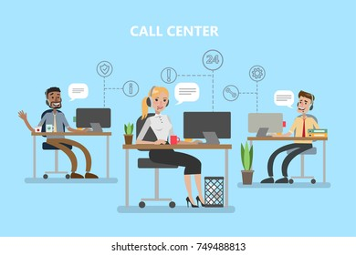 Call center office. People with headset working with clients.