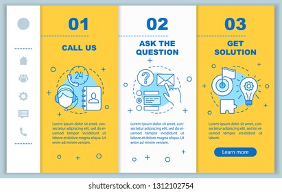Call center onboarding mobile web pages vector template. Helpdesk, hotline. Customer service. Online support. Responsive smartphone website interface. Webpage walkthrough step screens. Color concept