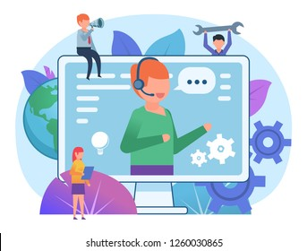 Call center, online support assistant. Small people stand near big screen, support operator. Poster for web page, banner, social media, presentation. Flat design vector illustration