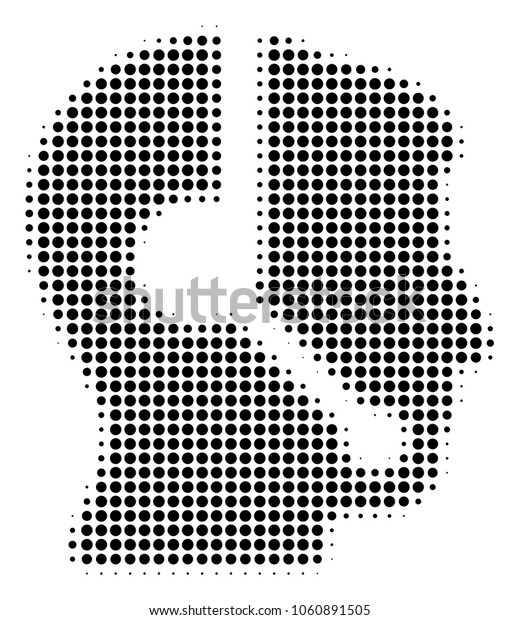 Call Center Operator halftone vector icon. Illustration style is dotted iconic Call Center Operator icon symbol on a white background. Halftone matrix is circle spots.