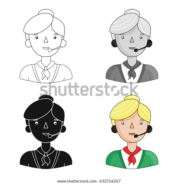 Call center operator icon in cartoon style isolated on white background. People of different profession symbol stock vector illustration.