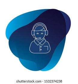 Call center operator icon or support service