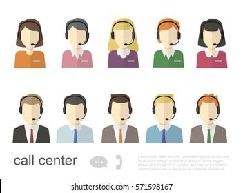 Call Center Operator Icons. Vector Flat Illustration