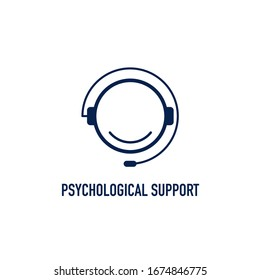 Call center operator line vector icon in line style on white. psychological support