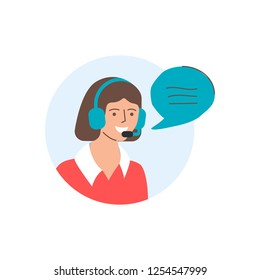 Call center operator, support, customer service illustration