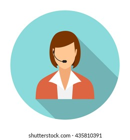 Call center operators, female avatar icons. vector illustration in flat design with long shadow