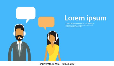 Call Center Operators Team, Indian Man Woman Customer Support Chat Bubble Copy Space Flat Vector Illustration