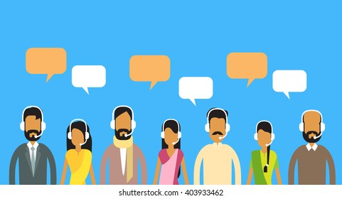 Call Center Operators Team, Indian Man Woman Customer Support People Group Chat Bubble Internet Communication Flat Vector Illustration