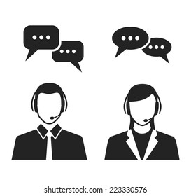 call center operators wearing headsets and speech bubbles. black and white vector concept icons