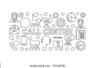 Call center outline illustration - vector modern horizontal banner in thin line style on white background
