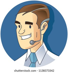 A call center person who is using headphones. Call center icon in vector.