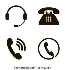 Call Center Phone Headphone icons set