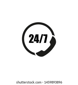 call center phone icon 24/7 on white background