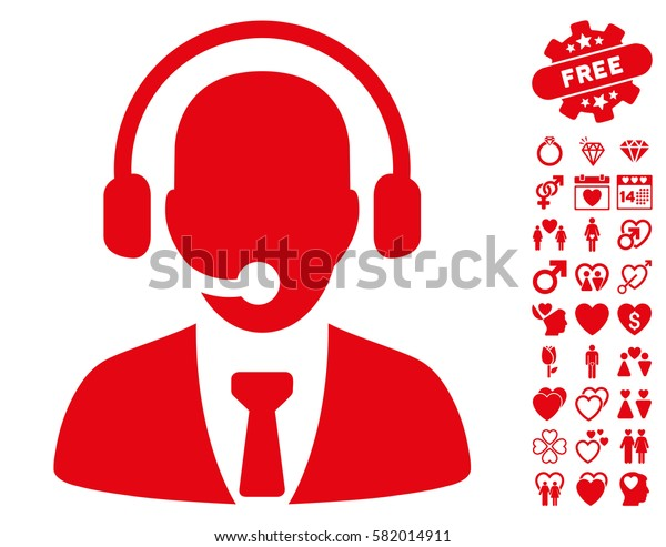 Call Center pictograph with bonus love symbols. Vector illustration style is flat iconic red symbols on white background.