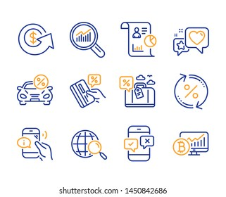 Call center, Report and Car leasing icons simple set. Data analysis, Dollar exchange and Heart signs. Travel loan, Loan percent and Credit card symbols. Line call center icon. Colorful set. Vector