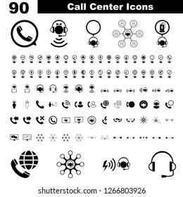Call center service icon image set. Concept of help, support, chat, online and communication. Symbolizing all kind off call types including emergency, complaint, telemarketing and technology.