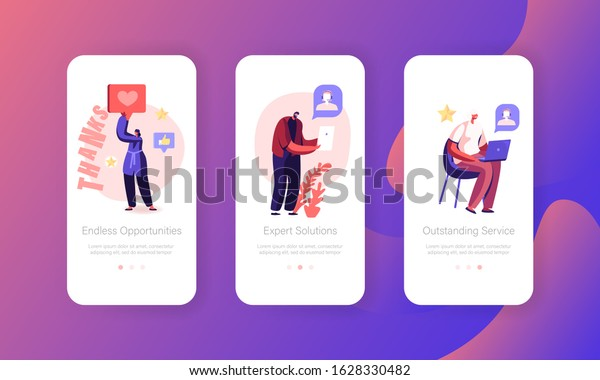 Call Center Service Mobile App Page Stock Vector Royalty Free 1628330482