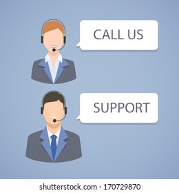 Call center support emblem isolated vector illustration
